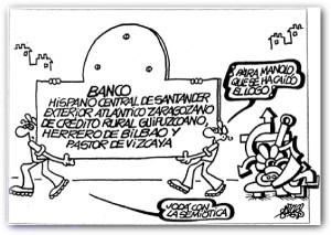 Un poco de humor de Forges sobre el proceso de concentración bancaria. Fuente: bolsa.lainformacion.com